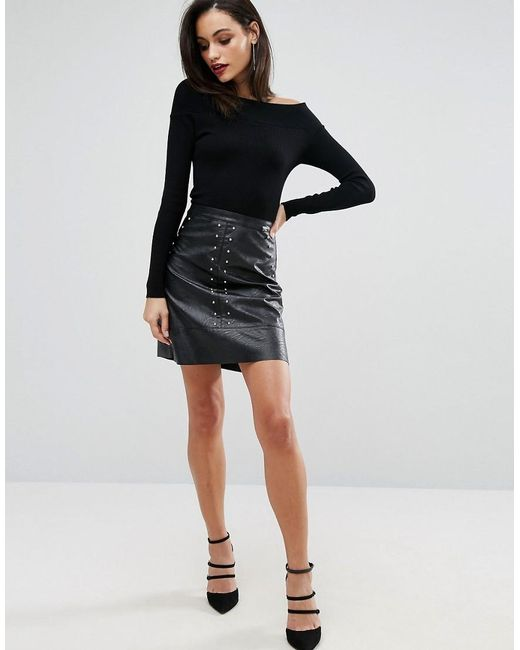 Lipsy 2 In 1 Dress With Faux Leather Skirt in Black | Lyst