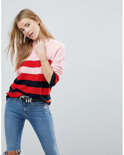 B.Young - Red Stripe 3/4 Sleeve Jumper - Lyst