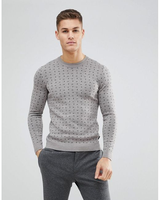 Ted Baker | Gray Crew Neck Jumper With Print for Men | Lyst