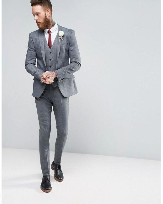 Wool Man Sute Wedding: Asos Wedding Super Skinny Suit Jacket In Herringbone Blue
