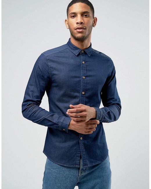 ASOS | Blue Skinny Denim Shirt In Rinse Wash for Men | Lyst