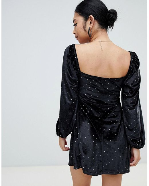 c197a144 ... ASOS - Black Asos Design Petite Studded Velvet Mini Dress With  Sweetheart Neck - Lyst