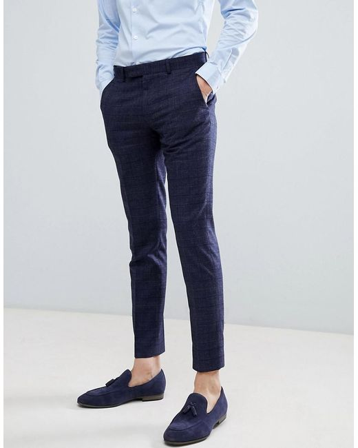 f8be2a836 Moss Bros - Blue Moss London Wedding Skinny Suit Pants In Navy Check for  Men ...
