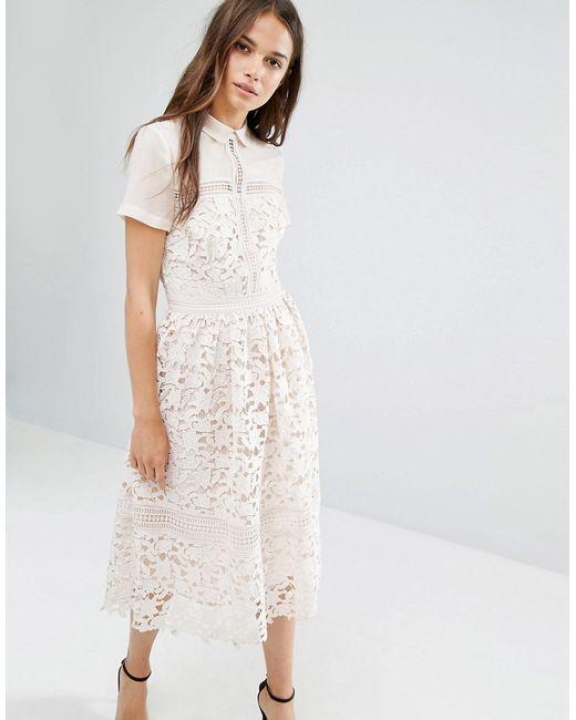 Warehouse Lace Collar Midi Dress In Multicolor (Cream)