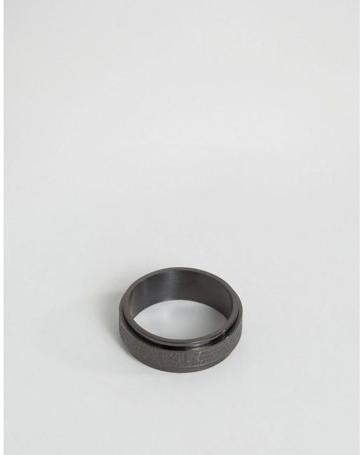 Seven London   Cross Band Ring In Black Exclusive To Asos for Men   Lyst