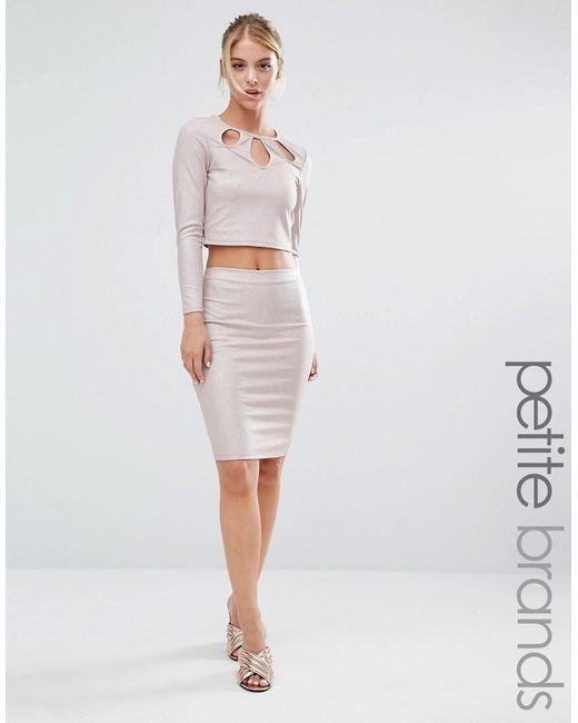 miss selfridge metallic midi pencil skirt in pink lyst