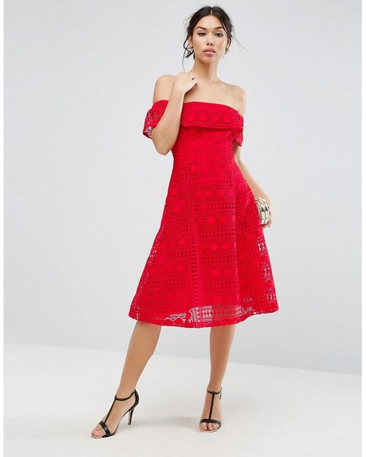 ASOS | Red Lace Off Shoulder Midi Dress | Lyst