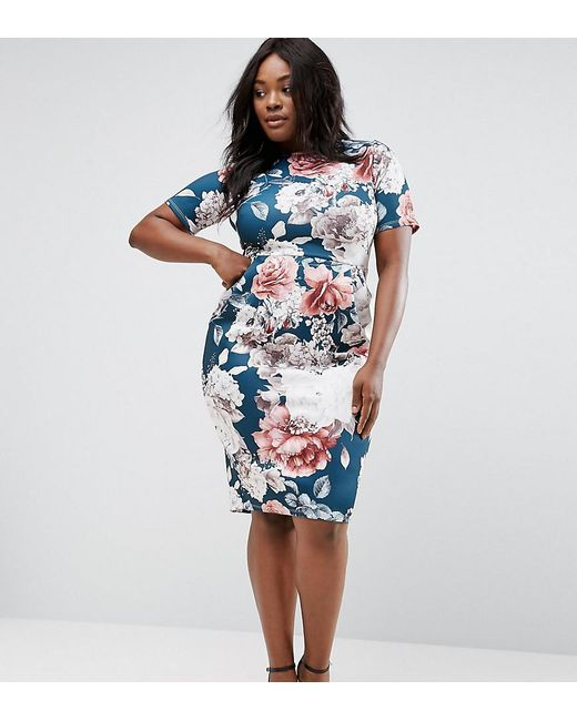 ASOS | Wiggle Dress In Blue Floral Print | Lyst