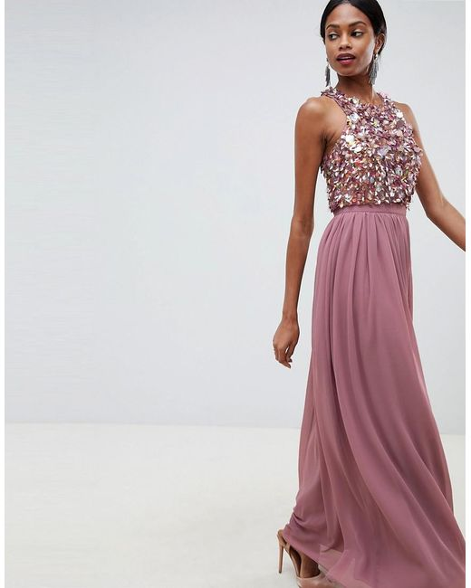 d2d0fb5c232 ASOS - Pink Maxi Dress With Cluster Embellished Bodice - Lyst ...