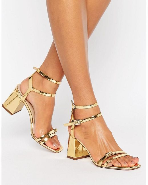 Asos Gold Block Heel Shoes