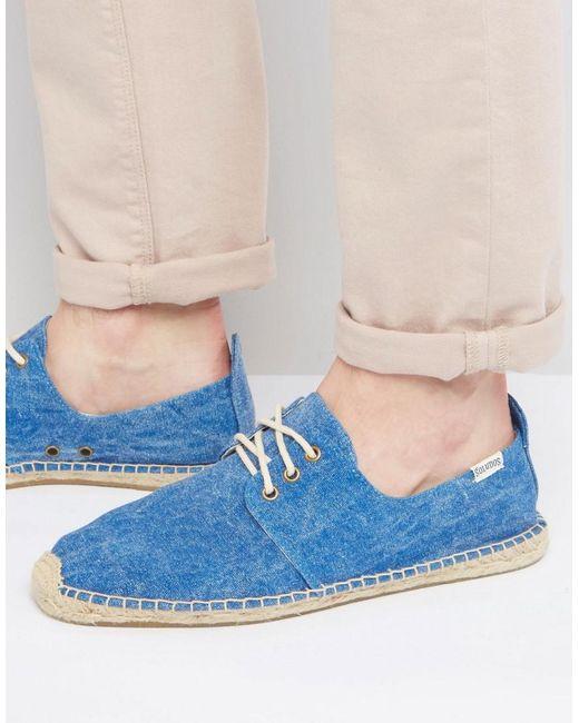 Soludos | Blue Derby Lace Up Mesh Espadrilles for Men | Lyst