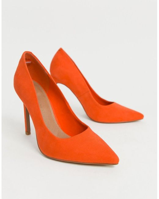 8c323188d4f ... ASOS - Red Porto Pointed High Heeled Court Shoes In Tangerine - Lyst