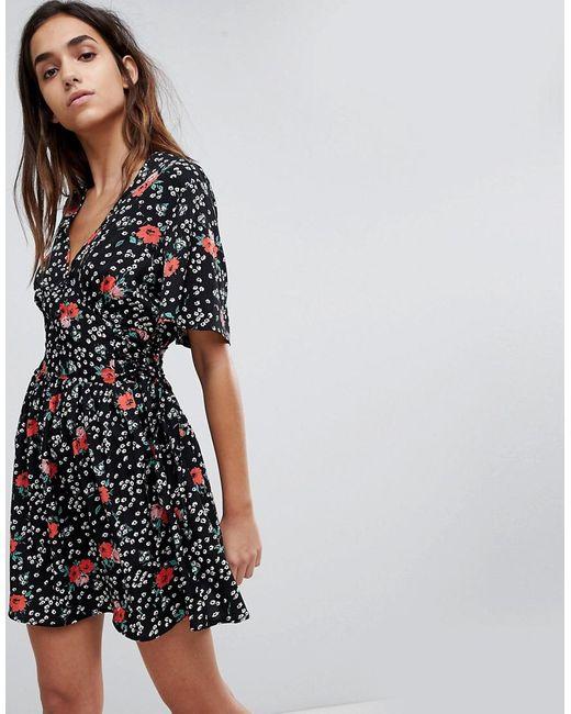 Missguided - Black Floral Tie Back Skater Dress - Lyst