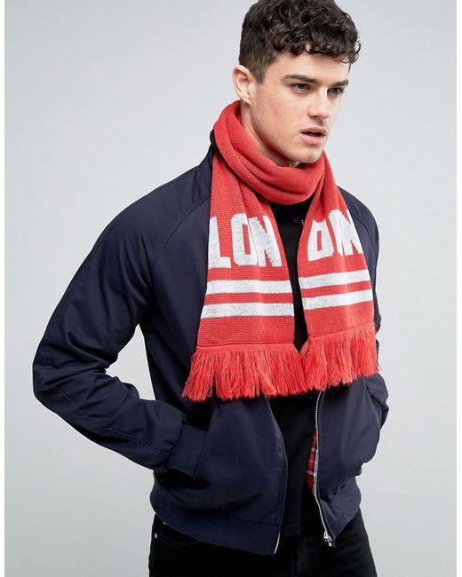 Abuze London | Black Lon Don Knitted Scarf for Men | Lyst