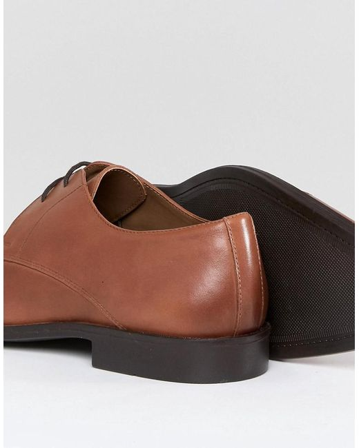 Toe Cap Derby Shoes In Tan Leather - Tan Frank Wright HgaB1