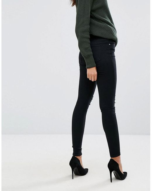 51d969fa3c8 ... Dr. Denim - Black Lexy Mid Rise Second Skin Super Skinny Ripped Knee  Jeans -