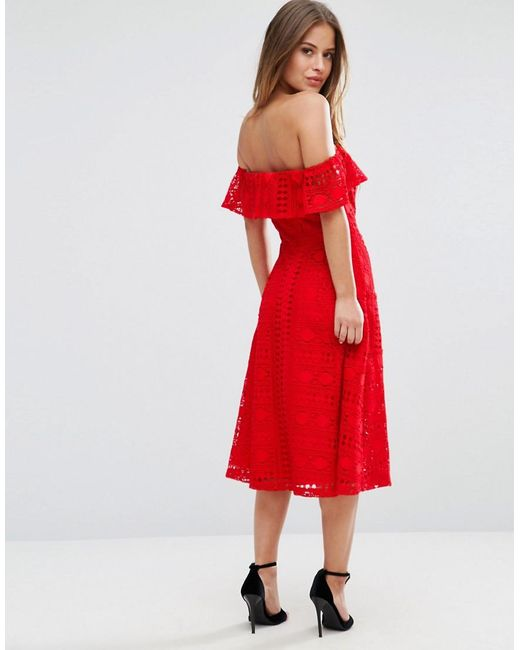 Asos Lace Off Shoulder Midi Dress In Red Lyst
