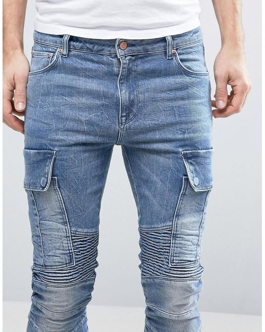 Asos Super Skinny Jeans With Cargo Pockets And Biker
