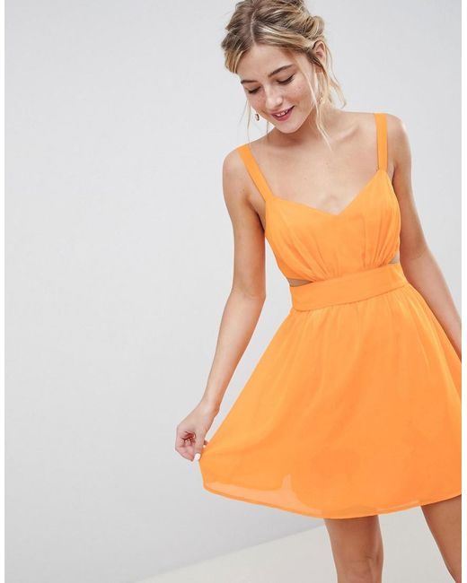 ASOS - Orange Cut Out Mini Dress With Cami Straps - Lyst