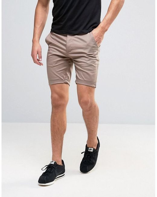 Asos Skinny Chino Shorts In Light Brown in Brown for Men | Lyst