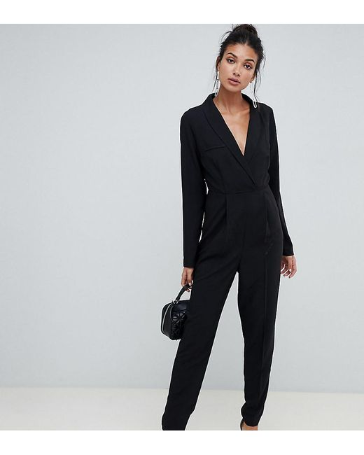 ASOS - Black Asos Design Tall Tux Jumpsuit - Lyst