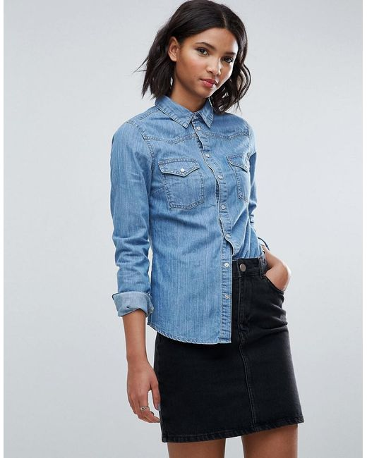 927952c7 Lyst - ASOS Denim Fitted Shirt In Mid Wash Blue in Blue