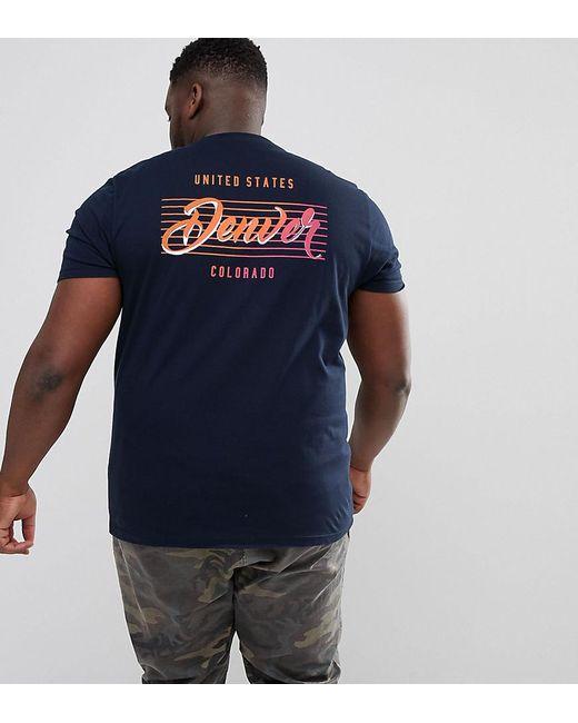 ASOS - Blue Design Plus T-shirt In Navy With Denvor Back Print for Men - Lyst