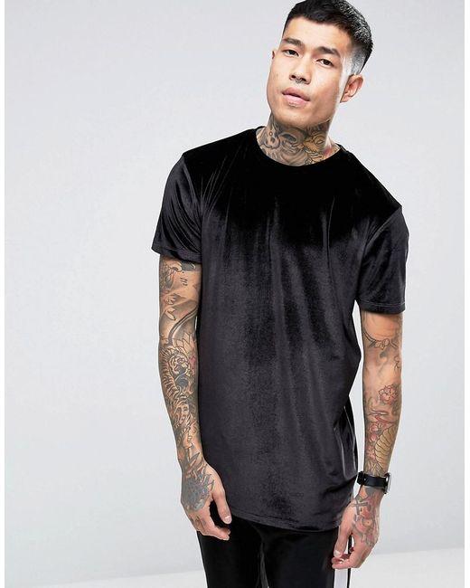ASOS | Longline Velour T-shirt In Black for Men | Lyst
