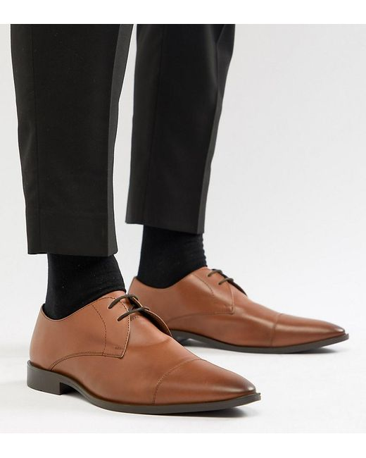 Frank Wright - Brown Wide Fit Toe Cap Derby Shoes In Tan Leather for Men - Lyst