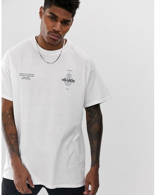 032715516 ... BoohooMAN - Oversized T-shirt With Wellness Print In White for Men -  Lyst