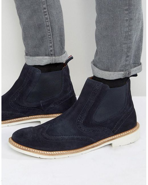 tommy hilfiger metro suede brogue chelsea boots in blue. Black Bedroom Furniture Sets. Home Design Ideas