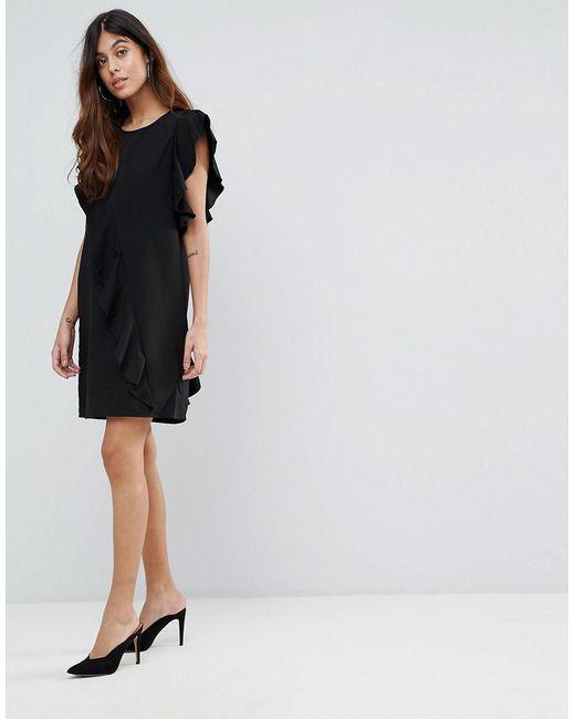 Frill Asymetric Dress - Black Vero Moda Free Shipping Fashionable MhopRDEU