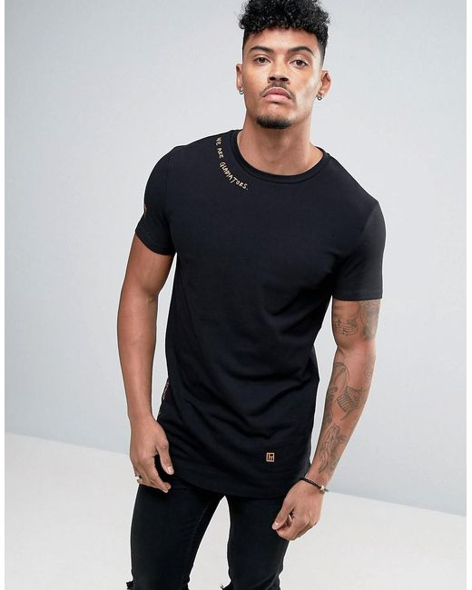 Asos Longline Muscle T-shirt With Curved Hem And Text ...