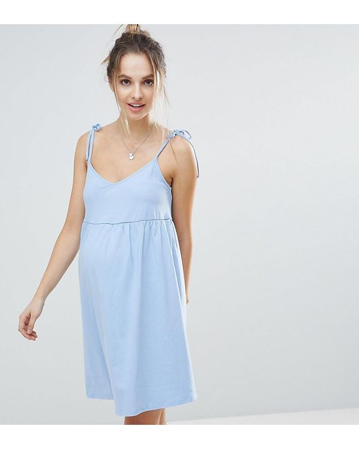1ef7aa44f19 ASOS - Blue Asos Design Maternity Mini Smock Sundress With Tie Straps -  Lyst ...