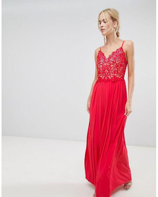 37c2912f59 Little Mistress - Red Pleat Skirt Maxi Dress - Lyst ...
