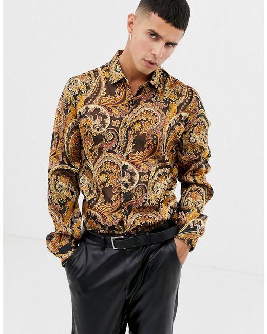 ASOS Multicolor Regular Fit Shirt In Satin With Paisley Burnout Print for men