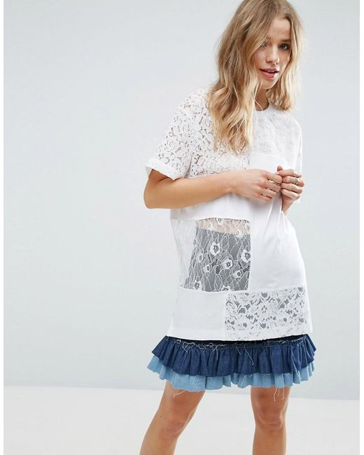 ASOS | White T-shirt In Oversized Fit With Cutabout Lace | Lyst