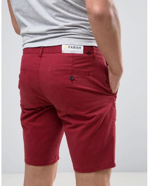 Farah Hawk Straight Chino Shorts In Red in Red for Men | Lyst