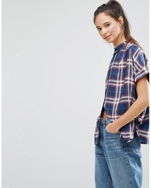 ONLY | Blue Batwing Check Shirt | Lyst