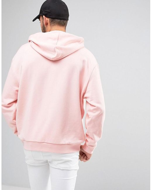 Asos Oversized Hoodie With Print in Pink for Men | Lyst