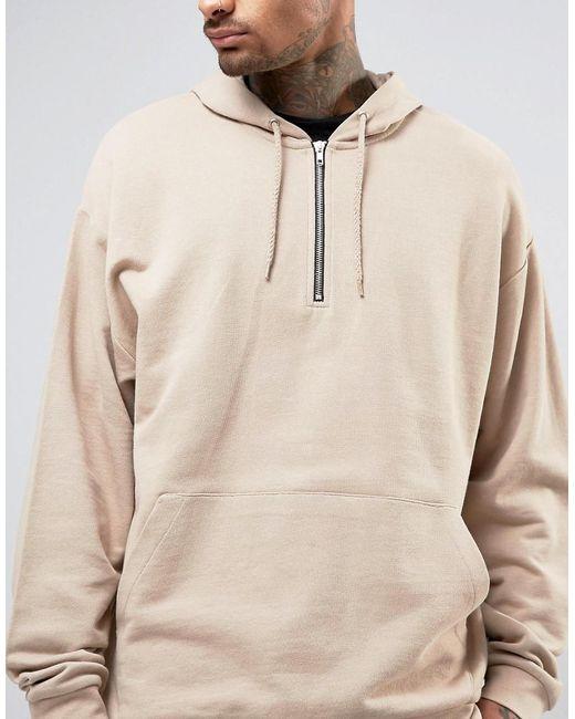 Asos Oversized Half Zip Hoodie In Beige in Natural for Men | Lyst