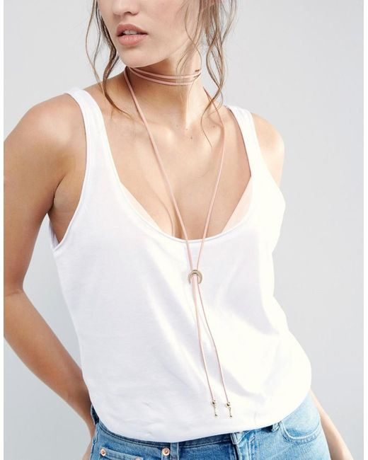 ASOS | Pink Wrapped Moon Bolo Necklace | Lyst