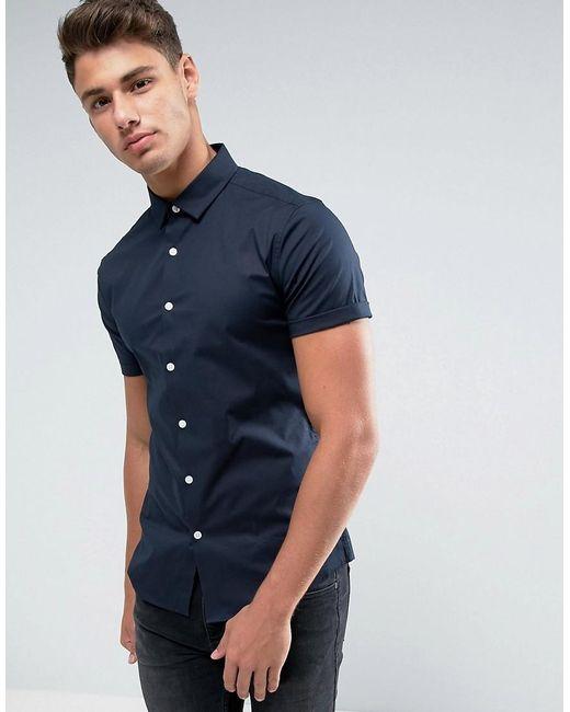 ASOS | Blue Skinny Shirt In Navy for Men | Lyst