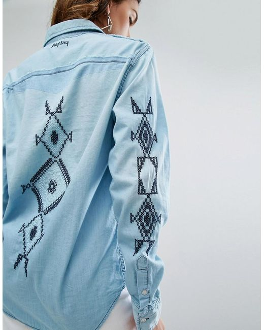 Replay denim shirt with embroidery in blue lyst for Replay blue jeans t shirt