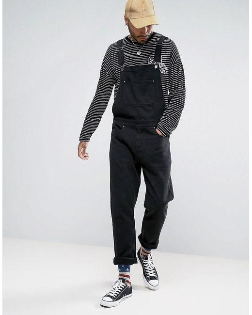 asos denim overalls in black in black for men lyst. Black Bedroom Furniture Sets. Home Design Ideas