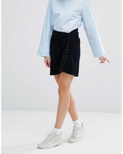 I love friday Asymmetrical Mini Skirt With Button Detail ...
