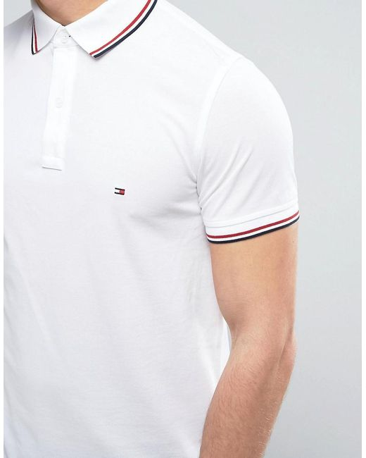 tommy hilfiger tipped pique polo slim fit in white in. Black Bedroom Furniture Sets. Home Design Ideas