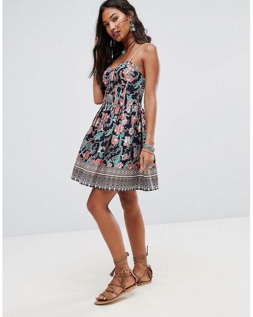 Boohoo Floral Print Summer Dress in Blue  Lyst