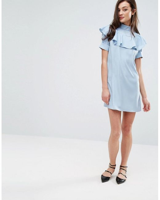 Fashion Union Frill Front Shift Dress In Blue Lyst