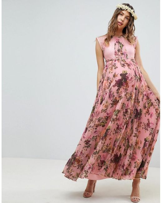 ec07e7a171bc ASOS - Asos Design Maternity Pleated Short Sleeve Maxi Dress In Pink Floral  Print - Lyst ...